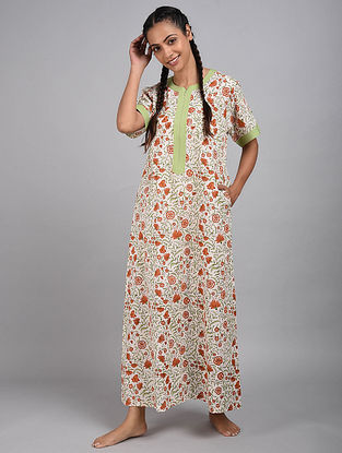 White Floral Printed Cotton Kaftan
