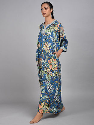 Blue Jungle Floral Printed Cotton Kaftan