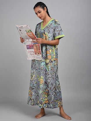 Twlight Jungle Printed Cotton Kaftan