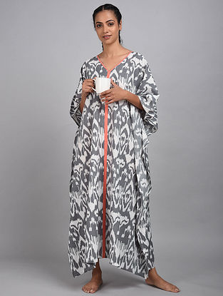 Grey Ikat Cotton Kaftan
