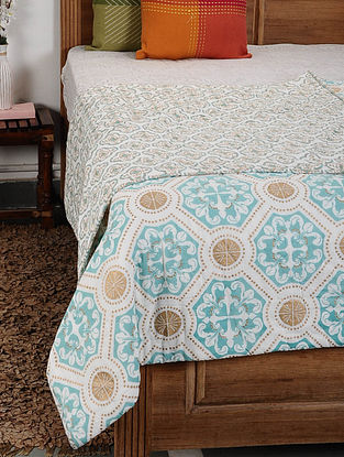 Marrakesh Aqua and Gold Cotton Double Quilt (108in x 90in)