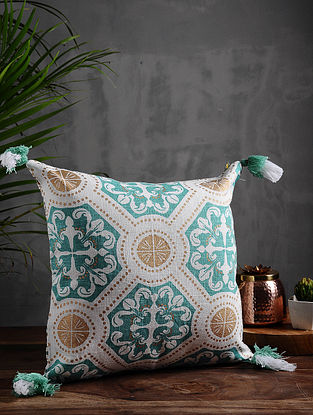 Marrakesh Aqua and Gold Cotton Cushion Cover (16in x 16in)