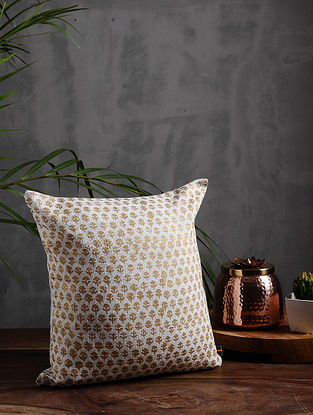 Gold Garden Gold and Silver Cotton Cushion Cover (12in x 12in)