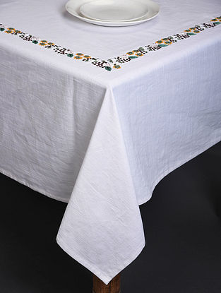 Spring Song White-Multicolor Hand Embroidered Cotton Table Cover