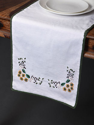 Spring Song White-Multicolor Hand Embroidered Cotton Table Runner (58in x 13.5in)