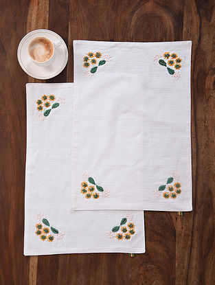 Spring Song White-Multicolor Hand Embroidered Cotton Placemats (Set of 2) (18.5in x 12.5in)