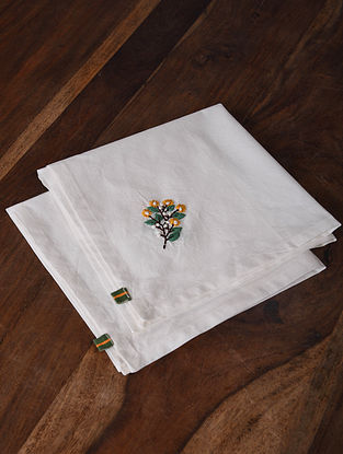Spring Song White-Multicolor Hand Embroidered Cotton Napkins (Set of 2) (18in x 18in)