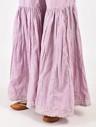 Lilac Hand Dyed Cotton Sharara with Hand-Embroidery