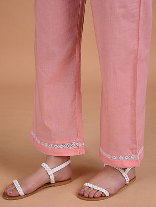 Pink Mul Pants with Lace Detail
