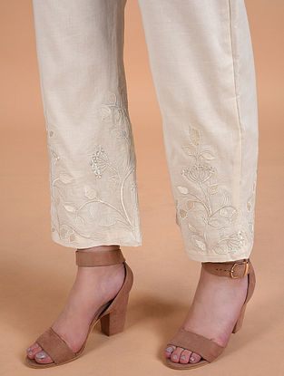 Ivory Embroidered Cotton Linen Pants