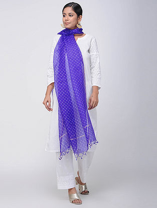 Blue-Ivory Leheriya Kota Silk Dupatta with Zari Border