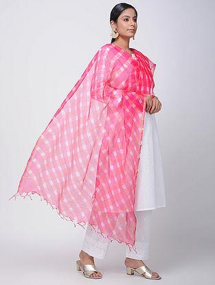 Pink-Ivory Leheriya Kota Silk Dupatta with Zari Border