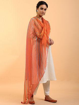 Orange-Grey Leheriya Kota Cotton Dupatta