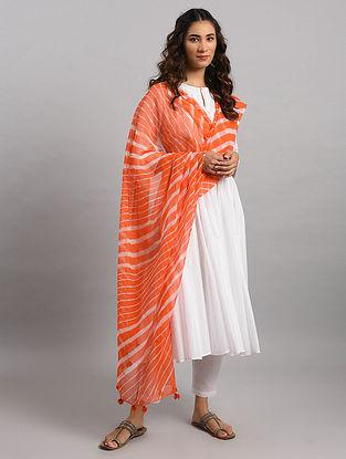 Orange-Ivory Leheriya Kota Cotton Dupatta