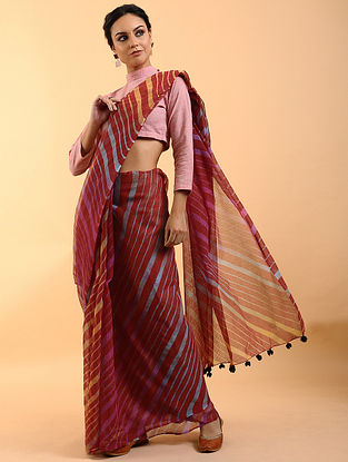 Red Leheriya Kota Cotton Saree