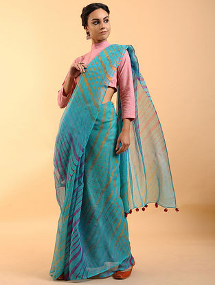 Blue Leheriya Kota Cotton Saree