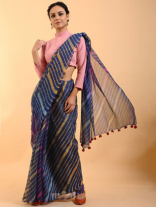 Blue-Mustard Leheriya Kota Cotton Saree