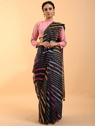Black Leheriya Kota Cotton Saree