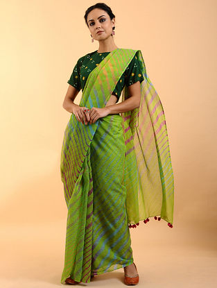 Green Leheriya Kota Cotton Saree