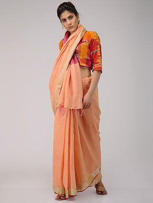 Peach-Pink Linen Saree with Zari Border