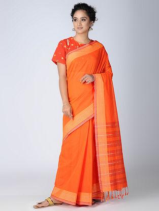 Orange-Yellow Cotton Saree with Woven Border