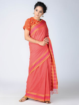 Pink-Beige Cotton Saree with Woven Border