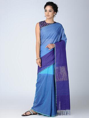 Blue Cotton Saree with Zari