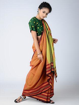 Orange-Green Cotton Saree with Woven Border