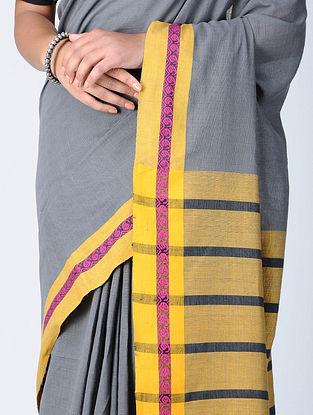 Grey-Yellow Cotton Saree with Woven Border