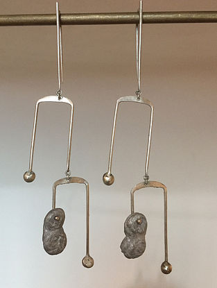 Silver Handcrafted Earrings with Aluminium
