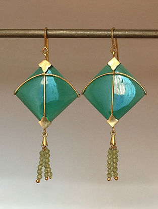 Gold Plated Silver Handcrafted Earrings with Green Onyx and Peridot