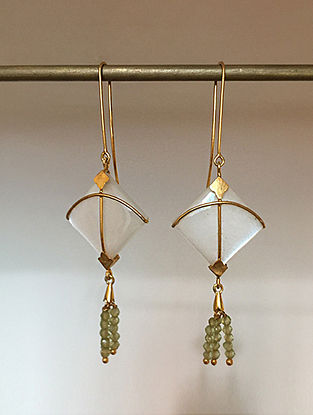 Gold Plated Silver Handcrafted Earrings with Moonstone and Peridot