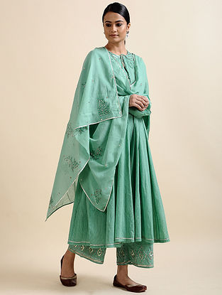 Aqua Green Block Printed Cotton Dupatta with Hand Embroidery and Sequins