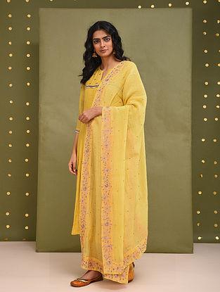 Yellow Hand Embroidered Chanderi Dupatta