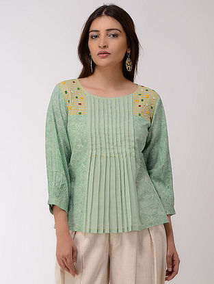 Green Block-printed Hand-embroidered Cotton Top