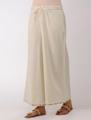 Ivory Tie-up Elasticated Waist Cotton Palazzos With Hand-embroidered Hem