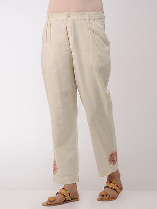 Ivory Cotton Pants With Hand-embroidered Hem