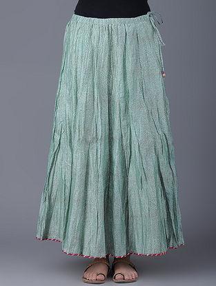 Green Block-printed Elasticated Waist Chanderi Skirt
