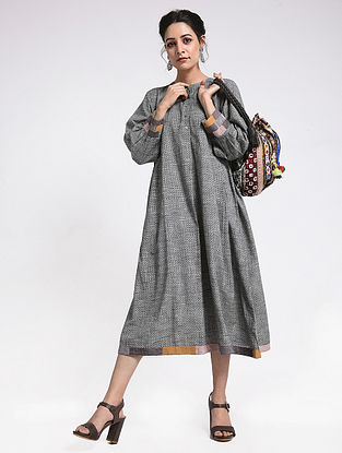 Grey Cotton Dress With Applique & Patch Work