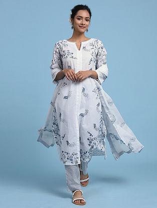 White Blue Cotton Kurta