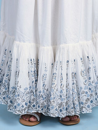 White Blue Cotton Skirt