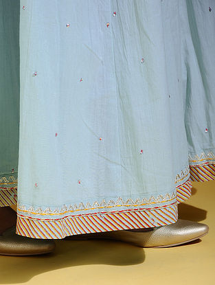 Blue Hand Embroidered Gota Detailing Skirt with Drawstring