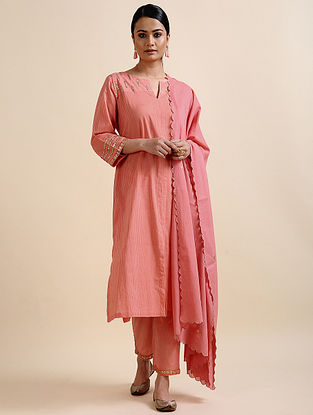 Pink Block Printed Cotton Kurta with Embroidery