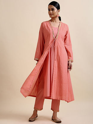 Pink Block Printed Cotton Shrug Kurta with Embroidery and Slip (Set of 2)