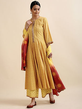 Yellow Embroidered Cotton Anarkali with Sequins
