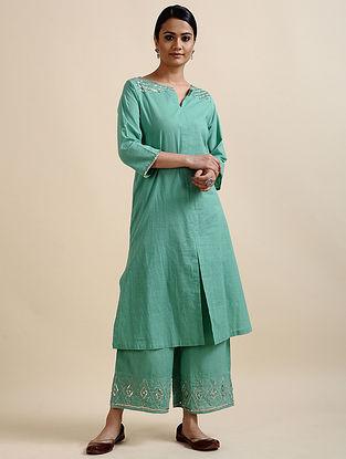 Aqua Green Printed Cotton Kurta with Sequins