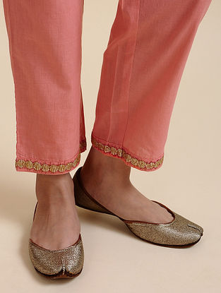 Pink Embroidered Cotton Pants