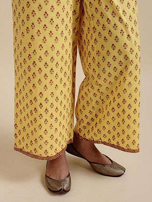 Yellow Block Printed Cotton Palazzo with Embroidery