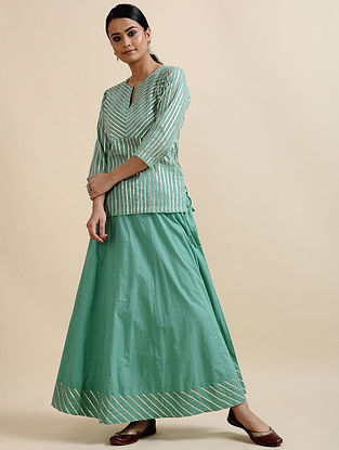 Aqua Green Printed Cotton Tunic with Gota Details