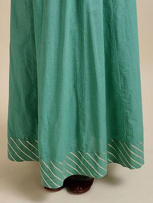 Aqua Green Printed Cotton Skirt with Gota Details